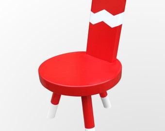 Accent Chair Kids Chair Child Furniture in Chevron Red and White by Candlewood Furniture