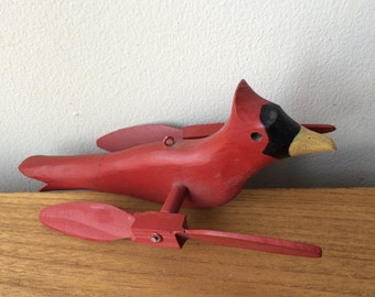 Vintage Wood Bird Hanging Mobile