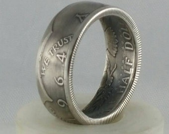 1964 Kennedy silver half dollar coin ring