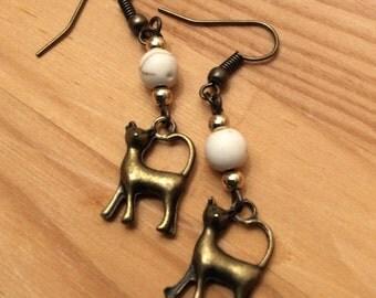 Golden Cat Charm Earrings