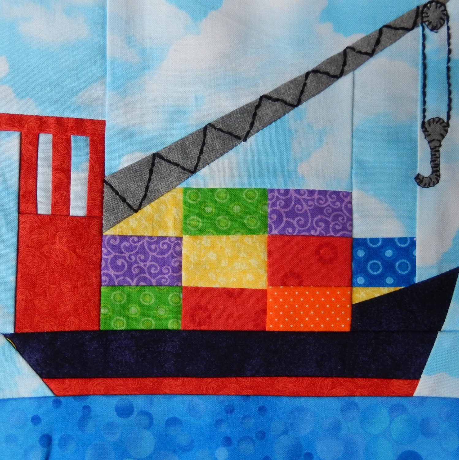 Paper Pieced Quilt Patterns For Babies: Cargo Ship Paper Pieced PDF Quilt Block Pattern Baby