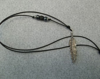 Long Feather Pendant Necklace on Leather Cord