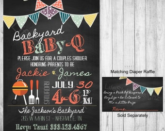 BabyQ Baby Shower - Baby Shower  Invitation - Backyard BabyQ -BBQ Baby Shower - Gender Neutral Baby - Coed Baby Shower - Digital