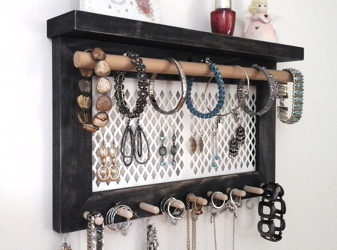 jewelry organizer wall hanging necklace holder earring. Black Bedroom Furniture Sets. Home Design Ideas