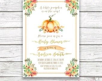 Pumpkin Baby Shower Invitation, Little Pumpkin Baby Shower Invitation, Fall Baby Shower Invitation, Floral Pumpkin on the Way Invitation