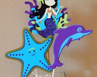 Mermaid Under the Sea Center Piece, Purple Blue and Green Under the Sea, Starfish, Dolphin Centerpiece