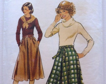 Inverted Pleat Skirts Sewing Pattern Size 10 12 Style 2405 Printed Uncut 1970s Fashion
