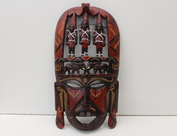 Vintage handmade kenyan tribal mask home decor wall hanging for Home decor kenya