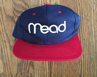 Vintage 90s New Deadstock Mead Strapback Hat Baseball Cap
