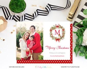 Christmas Card - Printable Christmas Card - Christmas - Printable Photo Card - Modern Christmas Card - Personalized - Wreath Christmas Card