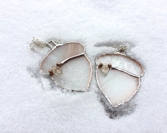 Stained Glass Complimentary Clear and Off-White Embellished Acorns
