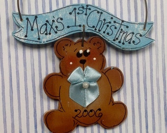 Baby Boy Hand painted Wood Bear ornament!
