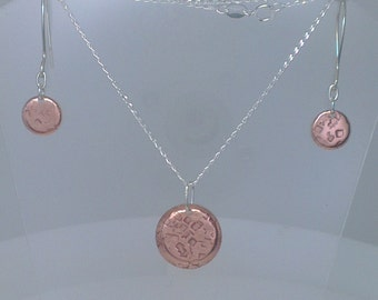 Textured Copper and Sterling Silver Earrings and Matching Necklace