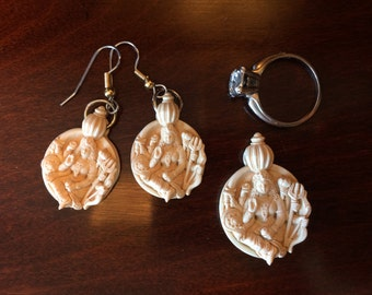 Durga earring and pendant set