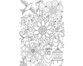 coloring page catch me instant download hand drawn artwork colouring pages coloring books flower birds romantiv fleurdoodles - Artwork Coloring Pages