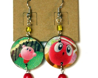 Kirby:  Decoupaged Earrings