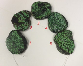 Green turquoise flat slabs, from Hubei, China. Amazing patterns of matrix,  For 5 pieces(TP459)