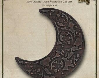Moon, Cast Iron Digital Clip Art Set 2