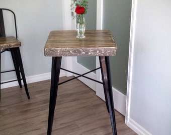 Reclaimed Wood Bar Height Bistro Table