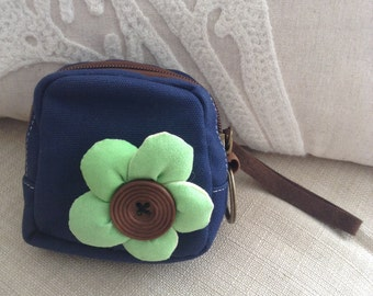 Cute blue Flower Coin Purse