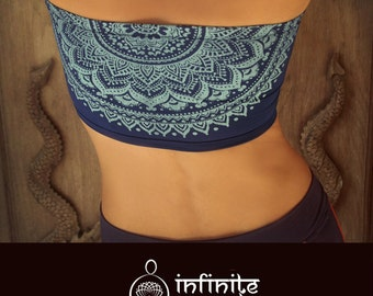 Bandeau top, dark blue, bandeau bra, yoga top, yoga bra, spiritual clothing, spiritual gift, activewear, yoga clothing, mandala print