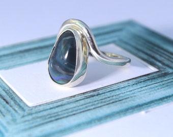 Dark Solid Australian Opal Handmade Sterling Silver Beachy Indie Boho Ring