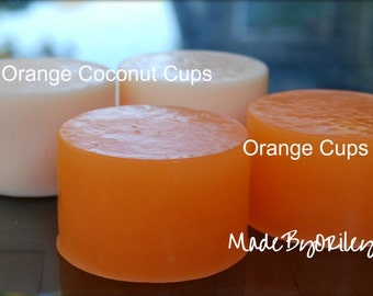 Soap Orange Cups Luxury handmade soap made with Coconut Milk, Apricot Oil and Pomegranate & Sweet Orange fragrance