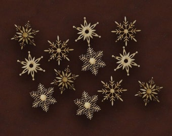 CHRISTMAS SNOWFLAKES SET of 12 unpainted laser cut christmas ornaments wooden snowflakes winter craft christmas decor snowflakes blank