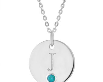 Personalized Initial Neclace, Initial Alphabet Jewelry, 925 Sterling Silver Necklace, Initial J Disc Pendant With Personalized Birthstone