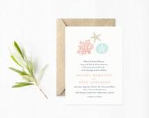 Beach Wedding Printable Invitation, Coral and Starfish, Nautical Wedding