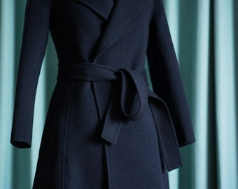 Navy Blue cashmere coat  women  winter coat wool coat