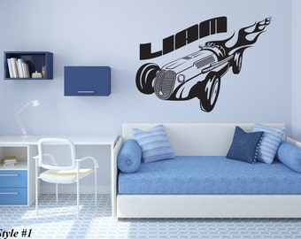 Wall Vinyl Decal Put Your Name Create Custom Personalized Boy's Name with Hot Rod Car Auto Decor for Nursery or Children's Room (#1019d)