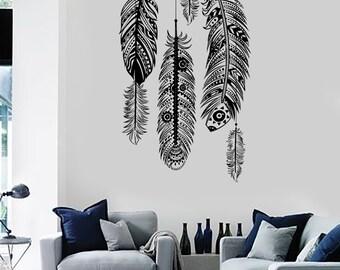 Wall Art Mural Feather Romantic Dream Catcher Bedroom Amazing Decor z1487dz