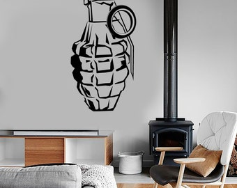 Wall Vinyl Decal Grenade Military Force War Soldier Mural Sticker 1685dz