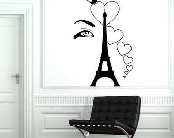 Wall Decal Paris Eiffel Tower Eye Sexy Heart Romantic Vinyl Decal Sticker 1820dz