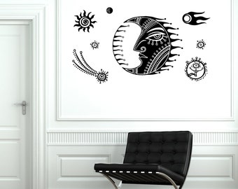 Wall Decal Moon Star Space Universe Comet Mural Vinyl Decal Sticker 1858dz