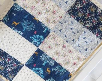 Enchanted Forest Baby Quilt, modern, antlers, deer, fox, forest, woods, minky, dear stella, gender neutral, buck, stag,