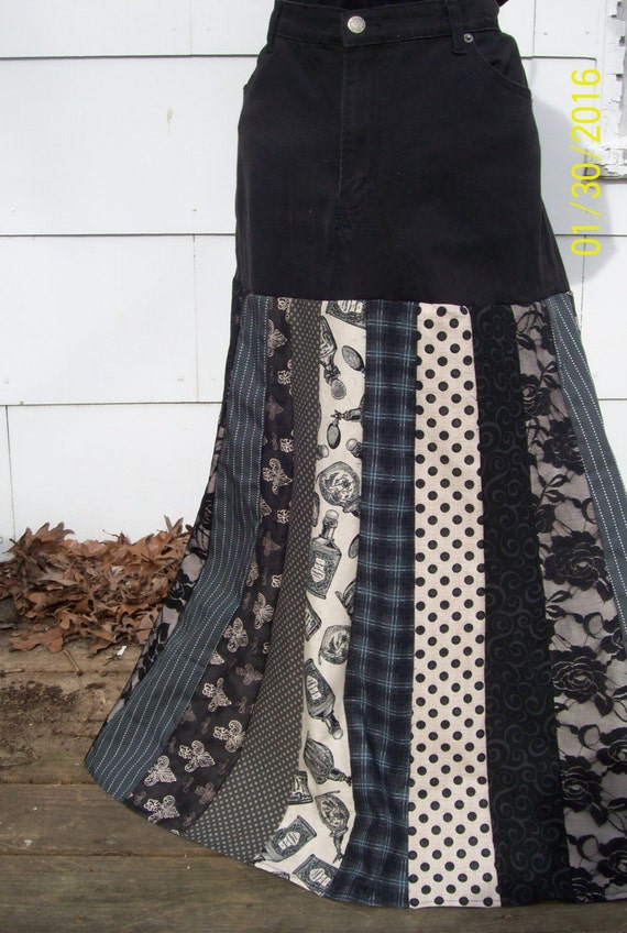 upcycled black denim maxi skirt