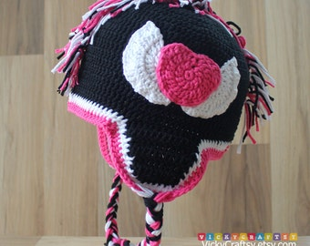 Crochet Mohawk Hat, Handmade Baby Beanie Ear Flaps, Photo prop