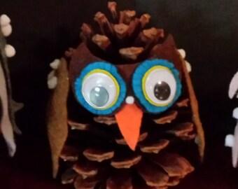 Handmade Pine Cone Owl