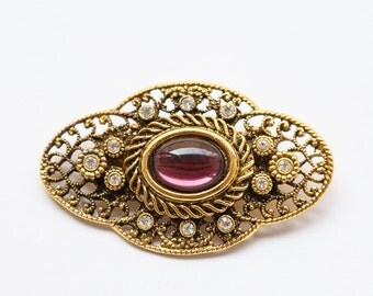 Vintage filigree gold toned brooch, rhinestone brooch, violet glass, gold crystal brooch
