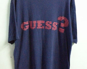 90s//GUESS by George Marciano//Plain Blue T-Shirt//Size XXL//Oversized Tee//Made In Usa//Totally Vintage from 90s