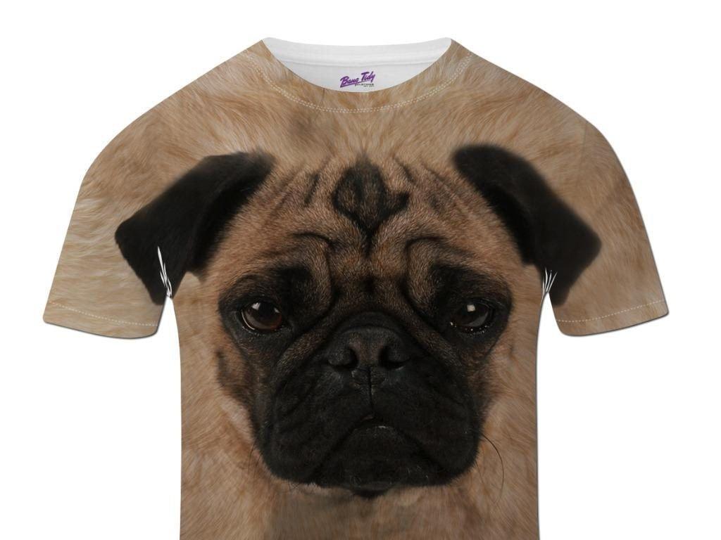Pug face t shirt animal print cute dog custom t shirt all over for Custom dog face t shirt