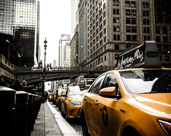 Downtown New York Taxi Print - New York Yellow Taxis, Yellow Cabs Print, Yellow Cab Print, New York Taxi Print - New York Photography Print