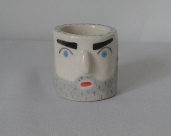 Ceramic Pot, Ceramic Face Pot, Hipster Pot, Beardy Man Pot, 3d Ceramic Face Pot