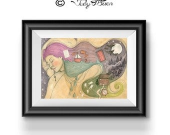 Art/ illustration Print - Girl Dreaming - rainbow hair - whimsy