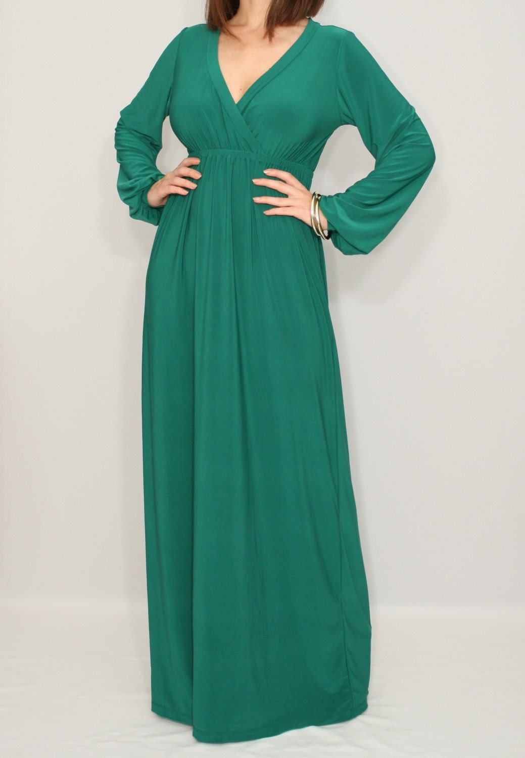 Emerald Green Dress Green Maxi Dress Long Sleeve Dress Women