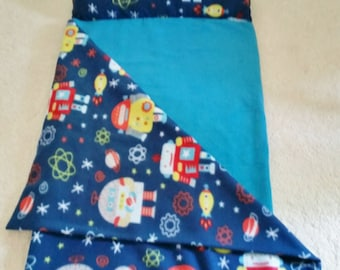 Nap sack Blue, Kids sleeping bag, Blue spaceships, space robots