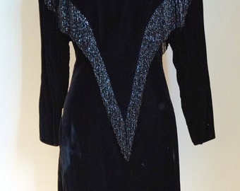 Vintage Chiara Boni 80s Black Velvet Sequin Fringe Dress size 42