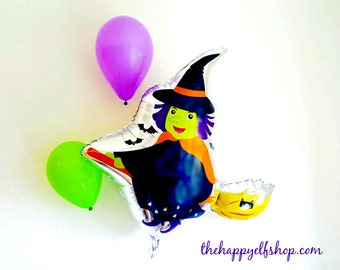 "35"" Witch on broom balloon. Halloween balloons. Trick or treat. Halloween decor. Halloween party. Halloween balloon banner. witch. witch hat"